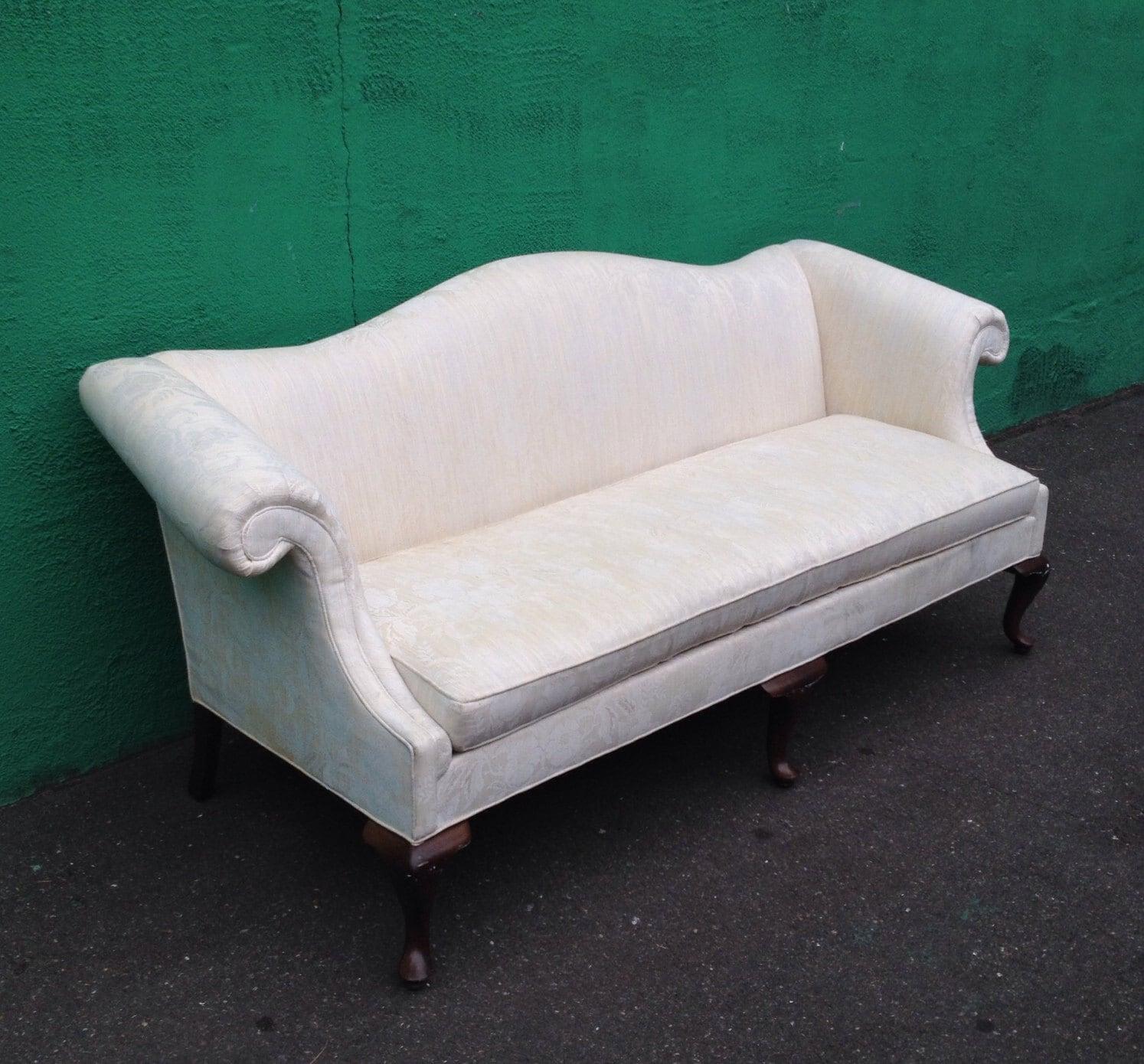 Vintage White Camel Back Damask Sofa