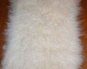 Real  Mongolian Tibet Lamb Natural White fur plate rug throw new Genuine authentic