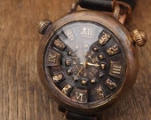 Vintage Retro Steampunk Handcraft Watch. Handstitch Leather Strap. WatchForChun-Li - Perfect Gift for Christmas and Anniversary