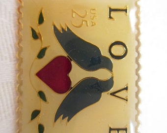Vintage USPS LOVE Postage Stamp Lapel Pin 1989