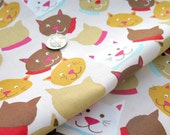 The LAST YARD sale-MEOW-Cat Faces by Joyce Baker for Newcastle Fabrics-1 yard