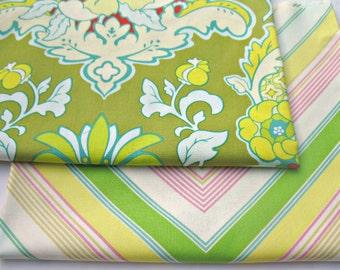 Fabric Bundle-POP Garden by Heather Bailey- Pineapple Brocade and Zag Stripe-2 half yard cuts