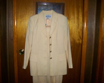 Vintage Ladies Yellow Suit Jacket with matching skirt