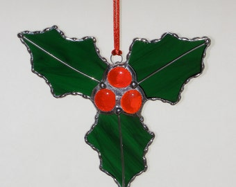 Stained Glass Suncatcher - Holly with Berries, Christmas Holiday Ornament