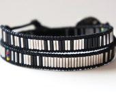 Men's Beaded Monochromatic Silver Bracelet with Aztec Vintage Sterling Silver button