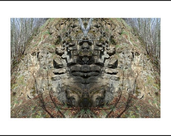 Mirror 1246 ARTIST PROOF 1 of 2_The Mirror Project limited edition_Sandy River Oregon_rock face bluff_ Loree Harrell