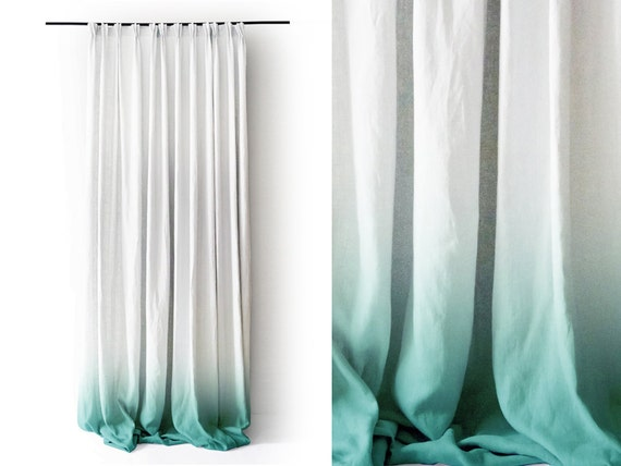 Ombr 232 mint linen curtain pinch pleat drapes window curtains by lovely