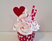 Rosette Valentine Fake Cupcake Photo Prop, Red and White Hearts, Shop Displays, House Staging, Home Decor, Party Decorations, Valentine Gift