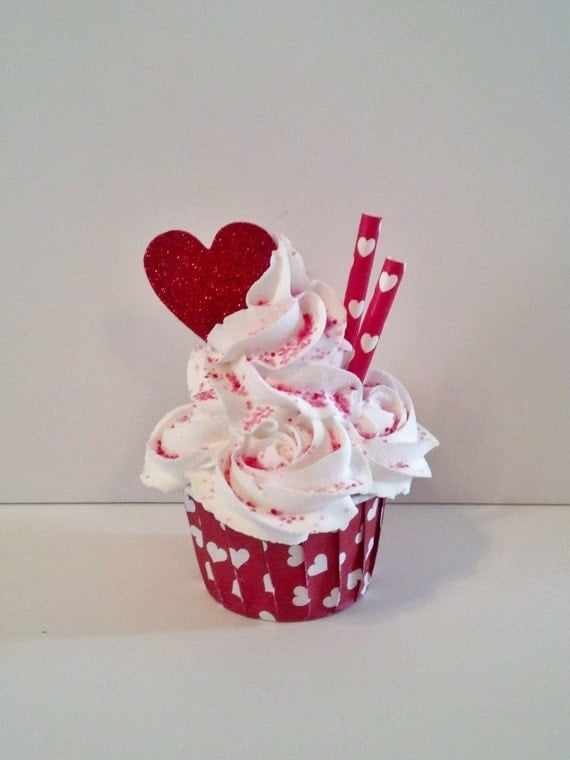 Rosette valentine fake cupcake photo prop by Valentine stage decorations