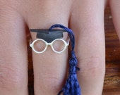 Graduation Cap Tassel Adjustable  Ring Sterling Silver Unique Graduation  Fashion Geek Gift For Her  Funny Silver Jewelry Graduation Jewelry
