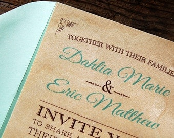 Real Birch Wood with Mint Accents Wedding Invitations - Camp Rustic Woodland Wedding