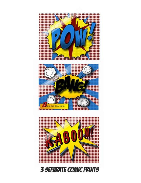 "8 x 10 Boy Pop Art Prints-""KABOOM, BANG, POW"" sound effects in comic book style- Super Hero wall art"