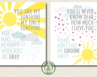 8x10 Set of You Are My Sunshine & You'll Never Know Dear Prints