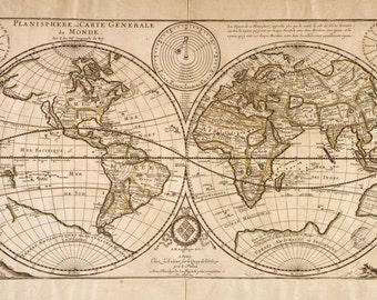 Vintage world wall, Double hemisphere, Hemisphere map, Atlas, #76