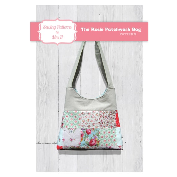The Rosie patchwork handbag purse bag PDF sewing pattern - Instant Download