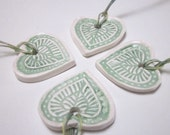 4 Ceramic Indian Leaf Heart Ornaments