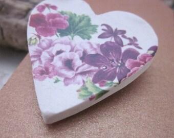 Pink Lily Ceramic Heart Brooch