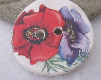 Large Bright Anemone Flower Posy Motif Ceramic Button