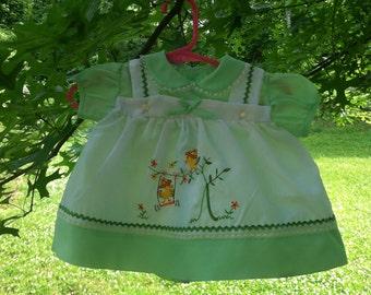 Vintage Styled By Cradle Togs Green Little Playful Birdies Dress/Top - 3 to 6M