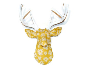 Fabric Deer Head Wall Mount - Yellow and White Flower Fabric - Deer Faux Taxidermy - FAD4601