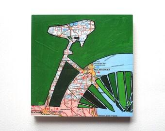 Milwaukee mounted print -  Milwaukee, Fond du Lac, Whitefish Bay,  Shorewood, Wisconsin bicycle art mounted to art block