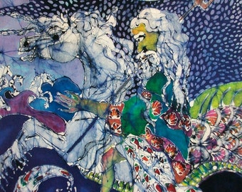 Neptune Rides the Sea  -  batik print from original