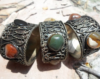 Vintage Brass and  Stone Napkin Rings