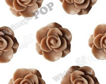 Dusty Mauve Star Flower Cabochons, Flower Cabs, Flower Flatback Embellishments, Flower Cabs, 21mm x 9mm (R7-088)
