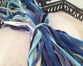 All the Blues Grab Bag Mix - #6 OR #8 Sized 100 Primitive Hand Cut Wool Strips for Rug Hooking