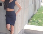 NYZ MATCHING SETS  High Waisted Pencil Skirt and Crop Top Tank in Navy Cotton Stretch Crop Top N Skirt Sets