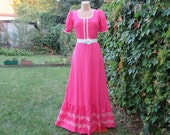 Long Cotton dress Vintage / Size EUR36 / 38 X UK8 / 10 / Maxi Dress / Pink / White / All Lining / For Tall Girls