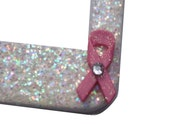 Breast Cancer Awareness Pink Ribbon w/ rhinestone Sparkly Bling Glitter License Plate Frame