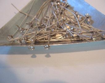 "Vintage Swarovski Rhinestone Headpins Crystal ss12/3mm prong set on 1 1/2"" Soft Silver Headpin QTY - 4"