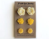 Yellow Post earrings, yellow stud earrings, gift set for women, gift under 20, post earrings, studs earrings
