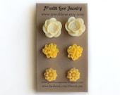 Yellow Post earrings, yellow stud earrings, gift set for women, gift under 20, post earrings, studs earrings