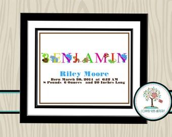 Birth Announcement, Nursery Print, Personalized Nursery Decor, Birth Statistics, Nursery Wall Art, Personalized Print, Birth Stats, Animals