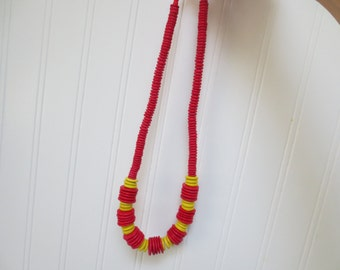 Bright Red and Yellow Disk Beads 70's Necklace