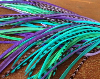 10-12 inch Feather Extensions XL Purple, Turquoise, Aqua Hair Feathers Loose Extension Feathers, Summer Beach Hair Accessories Plumes