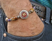 Men's Spiritual Om Bracelet with Semi Precious Fire Agate, Violet Imperial Jasper, Tibetan Om bead with Coral Inlaid - Tibetan Man Bracelet