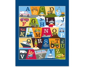 Transportation Alphabet Poster - On The Go Deep Blue
