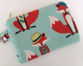 Dapper Foxes Small Zippered Pouch