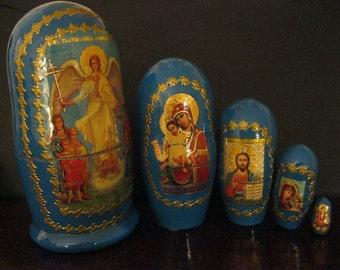 Beautiful   ANGEL & Madonnas nesting dolls set. Gift condition. Handcrafted in Russia Matryoshka