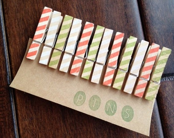 "Mini Clothespins ""Holiday Stripes"" - Set of 12 Handstamped Clothes Pins"