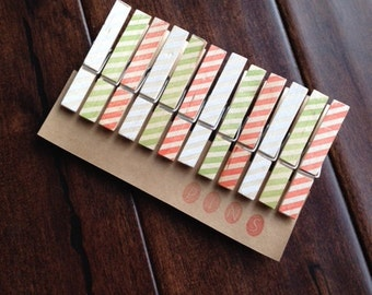 """Clothespins """"Holiday Stripes"""" - Set of 12 Handstamped Clothes Pins"""