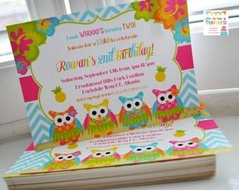 LUAU OWLS party invitation - You Print