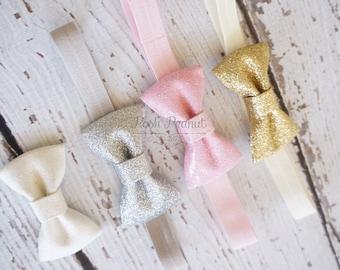 glitter bow headband- gold glitter bow headband- glitter bows- pink glitter bow headband- glitter bows- sparkle headband- baby glitter bows