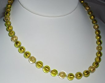 24K Gold and Chartreuse Ca' D'Oro Murano Glass Necklace