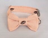 Preppy Football Orange Seersucker Dog Bow Tie Collar, Orange Football Dog Bow Tie Collar, BowTie Dog Collar, Tennessee Vols Dog Collar