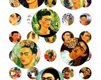 1 Inch Circle Frida Kahlo Day Of The Dead Digital Sheet. INSTANT DOWNLOAD. 35 Images. Printable Digital Sheet