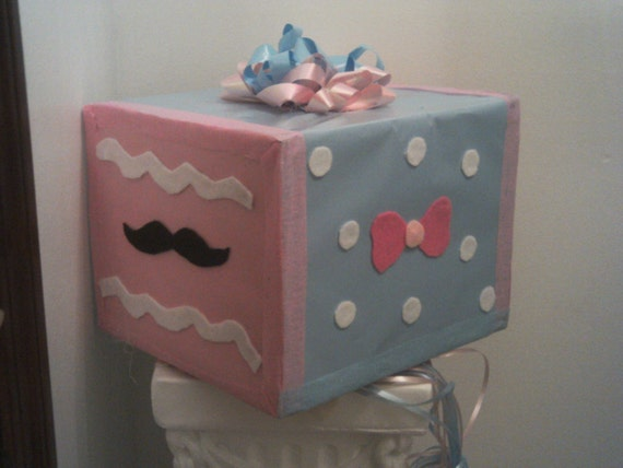 gender reveal baby shower pull string pinata bows mustache